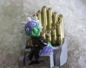 Hallmark Halloween pin PHANTOM Green Man PIPE ORGAN Player Holiday Lapel brooch