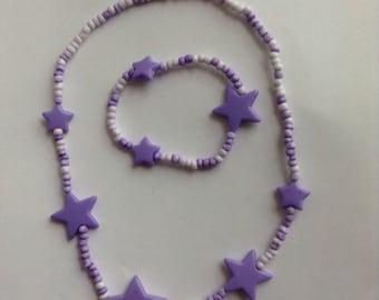 Bow purple star GIRL shabby chic feel crytsal necklace bracelet set kids pearls adorable tiny bead ani school  kid