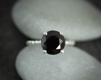 Size 7 Black Spinel Precious Gemstone and Sterling Silver Solitaire Ring, Cocktail Ring