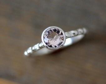 Morganite Ring in Sterling Silver, Blush Pink Gemstone Ring for Engagement or Stacking Ring Set