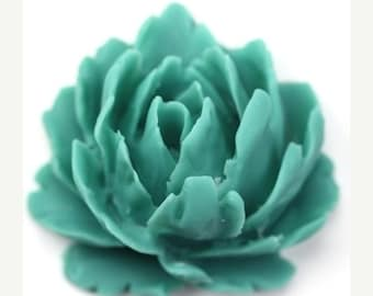 50% off Sale Plastic Flower Cabochons Rose Large Matte Teal 35mm (2) PC262