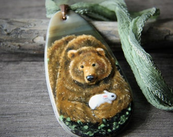 Brown bear and is friend necklace - fused glass pendant, woodland animal - woodland jewelry - Boho necklace