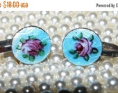 HUGE SALE Vintage Rose Enamel Earrings, Screw Back, Sweet Victorian, Shabby Chic Roses Dainty