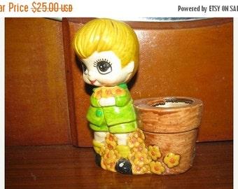 Valentines Day Sale Big Eyes, Valentines Day figurine,  Vintage Valentine planter,  Big Eyed Figure, Blonde Boy, Flower Child, Sweet, Retro,