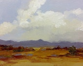 LONG VIEW, oil painting, landscape, original, 100% charity donation, original painting  5x7 canvas panel, clouds