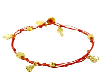 Red Hamsa and Multiple Gold Plated Charms Anklet
