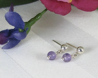 Very Tiny Amethyst and Sterling Silver Ball and Post Earrings