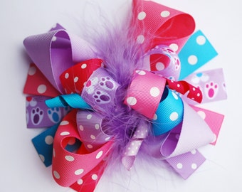 boutique FUNKY fun BUNNY HOP Easter hair bow clip