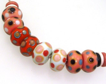 Handmade Lampwork Glass Beads - Gallup! 4 pairs. Stacked dots in salmon peach, coral, black, denim. Earring pairs, southwestern colors.