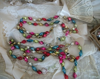 antique mercury glass bead garlands, multi color beads, old glass christmas tree bead chain ornaments, figural shaped beads, 2 strands