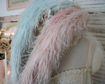 antique french marabou feather plumes, pale aqua, pale soft pink, two long plumes, very soft and fluffy