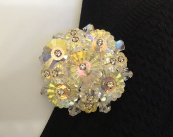 Vintage brooch, Floral cluster, Shiny clear faceted crystals, Fabulous detail, 1 and 5/8 inch round, Excellent condition, Unsigned
