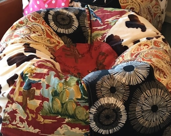 NEW Retro Rodeo Cowboy with faux furry cow and paisley prints bean bag chair