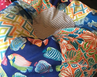 NEW Unfilled Tropical Aquarium Fish and Turtles and Hawaiian Tiki Print Bean Bag chair with liner but you add the filling