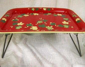 Vintage Red Metal Collapsible Breakfast in Bed Lap Serving Tray Laptop Cottage Chic