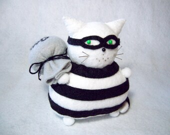 Felt pin cushion, Cat burglar, Black and white striped cat, Sneaky cat, Masked cat, Silly cat gifts, Animal lover, Cute pincushion cat