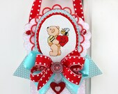 Valentine -BEE MINE- Cross Stitched Embellished Ornament, Altered Art, Wall Hanging, Home Decor, Gift, Handmade, Bear With Heart, Bee