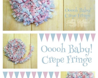 Ooooh Baby Handmade Crepe Paper Fringe, Festooning, Trim, Garland, Decoration, Party, Craft Supply, Streamer, DIY, Baby Pink, Baby Blue