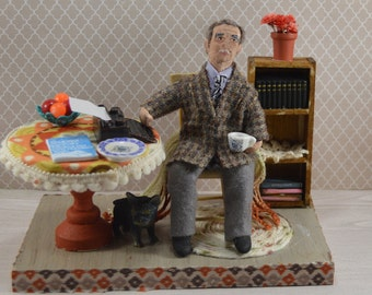 Author Writer-  Gabriel Marquez-  Miniature Diorama Scene-  Gabo-  One of a Kind Art-   Uneek Doll Designs