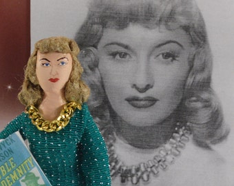 Barbara Stanwyck Movie Actress Golden Hollywood Television Star Miniature Caricature Art Doll