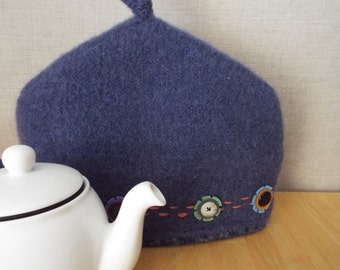 Purple Passion Felted Handknit Teapot Cozy, Cosy, Lined, Embroidered, Button
