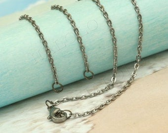 4 pcs handmade gunmetal finish flat chain necklace with 2 jump rings CH105