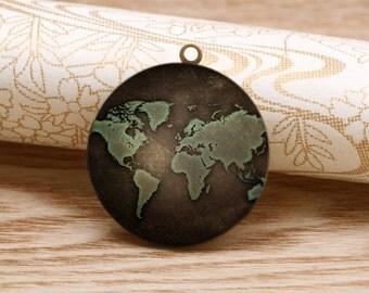 handmade world map round antique bronze locket 32mm (LD189)