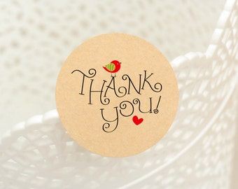 """60 pcs """"Thank You with Cute Bird"""" stickers,labels, envelope seals, round stickers (PSB-3219)"""