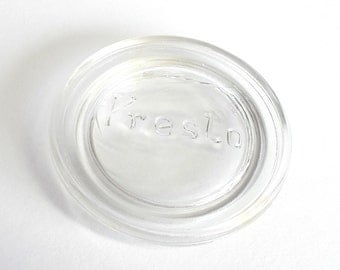 Canning Jar Lid Liner . Vintage Glass Canning Jar Lid. Glass Lid . Presto . Lot 132