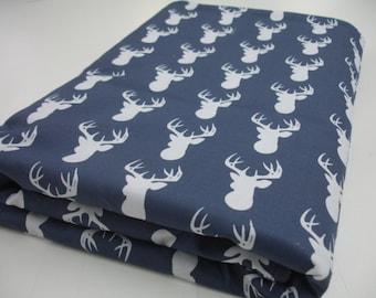 Navy Deer Head Minky Blanket MADE TO ORDER