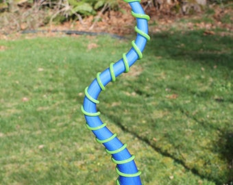 Sky Blue Silly Wolly Worm With Lime Green Body Wrap Glass Garden Art Sculpture Outdoor Yard Decoration