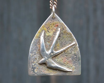 Homeward Bound: Silver Swallow Necklace, handmade sterling silver pendant