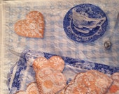 Pepparkakor linen tea towel in blue gingham with Spode