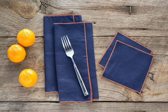 Navy Blue Linen with Orange Edge, Cloth Napkins and Coasters, 100% linen