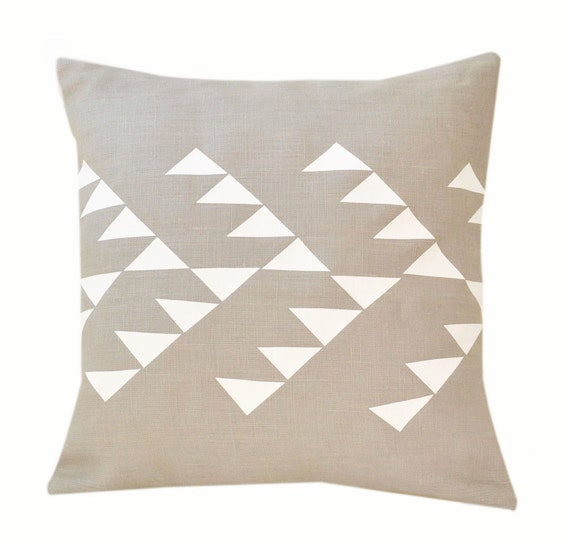 Grey linen pillow cover with geometric design in white Inspired by tribal patterns