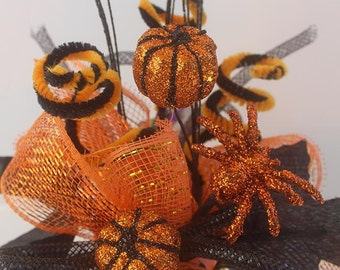 Halloween pumpkin arrangement, Halloween Party Centerpiece,  halloween decor, table arrangements, table decorations, orange and black