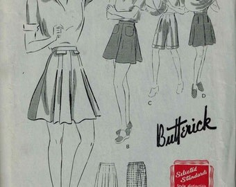 Vintage Butterick 1429 Sewing Pattern, 1941 Full Shorts, 4 styles, Size 16 Waist 28 Hips 37 Unused