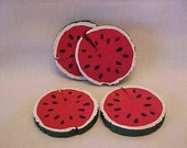 WOODEN WATERMELON SLICES~~Four Little Wooden Slices of Watermelon~~Tole Painted on Wood~~Fun Conversation Pieces!