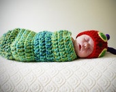 Caterpillar Newborn Baby Beanie Hat and Cocoon Crochet Snug Set Photography Prop