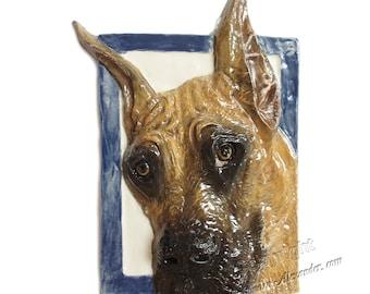 Great Dane Dog CERAMIC Portrait Sculpture 3d Dog Art Tile Plaque FUNCTIONAL ART by Sondra Alexander In Stock