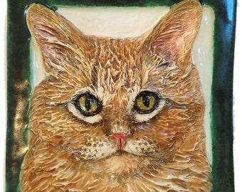 Longhair Cat Tile CERAMIC Semi-Custom Portrait Sculpture 3d Art Plaque FUNCTIONAL ART by Sondra Alexander Made to Order