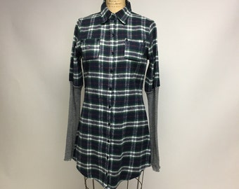 Plaid flannel tunic dress with grunge striped sleeves S/M
