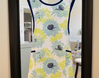 Pinafore Cross Back Apron - Vintage Style - Retro Apron - Smock Apron in Fairy Vintage Indigo/Canal Navy Blue Trim - Premier Prints Fabric