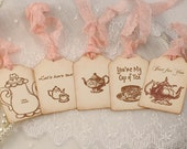 Tea Favor Tags Tea Party Gift Tags Sampler Blush Ribbon Set of 5