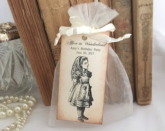 Alice in Wonderland Bags and Tags Set of 10 Bridal Shower Birthday