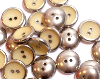 Silver Buttons, Vintage Cream Ivory Silvertone Metal Buttons 9/16 inch diameter x 25 pieces