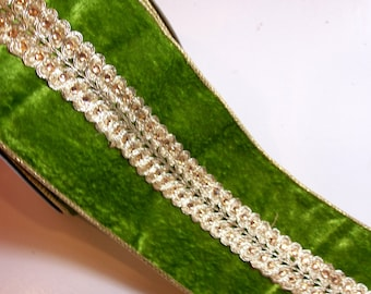 Velvet and Rhinestone Ribbon, Lion Brand Green Brilliant Wired Fabric Ribbon 4 inches wide x 10 yards, Full Bolt, SECOND QUALITY FLAWED