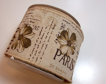 Wide Wired Ribbon, Offray Paris Wired Fabric Ribbon 4 inches wide x 10 yards, Full Bolt of Beige Paris Ribbon