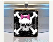 60% OFF CLEARANCE Crossbones skull pink bow Scrabble tile pendant charm by IMCreations (SYM132)