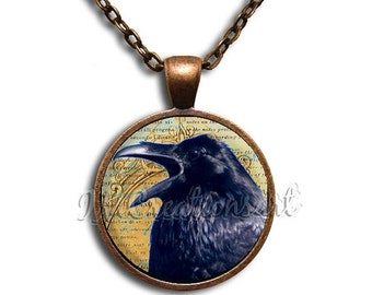 SALE - Cawing Raven Glass Dome Pendant or with Chain Link Necklace AN146